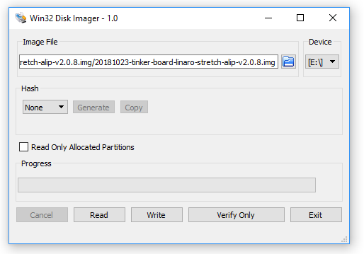 Configurações do Win32 Disk Imager