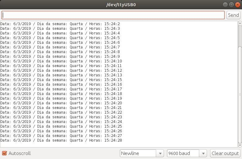 Monitor Serial imprimindo a data, dia da semana e hora