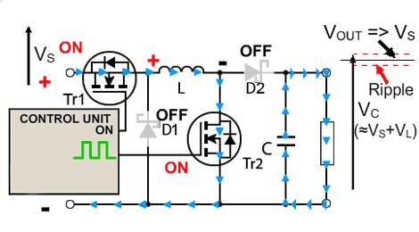 circuito-conversor-buck-boost-boost-ligado